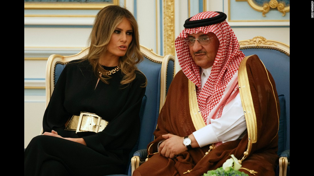"Melania Trump talks with Saudi Crown Prince Mohammad bin Nayef during a ceremony to present The Collar of Abdulaziz Al Saud medal to President Donald Trump, at the Royal Court Palace on Saturday, May 20, in Riyadh, Saudi Arabia. <a href=""http://www.cnn.com/2017/05/20/politics/gallery/trump-first-foreign-trip/index.html"" target=""_blank"">See photos from Trump's first foreign trip</a>"