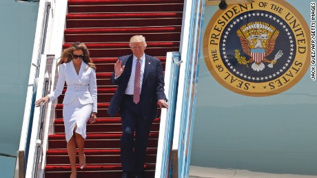 US President Donald Trump and First Lady Melania Trump disembark Air Force One upon their arrival at Ben Gurion International Airport in Tel Aviv on May 22, 2017, as part of his first trip overseas. / AFP PHOTO / Jack GUEZ        (Photo credit should read JACK GUEZ/AFP/Getty Images)