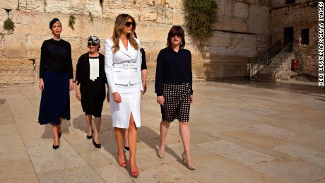Ivanka Trump and First Lady Melania Trump visit the Western Wall.
