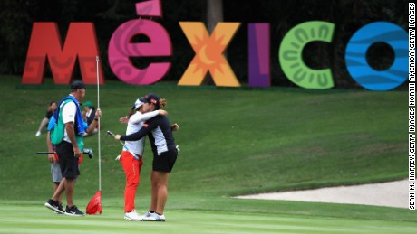 MEXICO CITY, MEXICO - MAY 07:  Sei Young Kim of Korea hugs Ariya Jutanugarn of Thailand after defeating her 1 Up during the final round of the Citibanamex Lorena Ochoa Match Play Presented by Aeromexico and Delta at Club De Golf Mexico  on May 7, 2017 in Mexico City, Mexico.  (Photo by Sean M. Haffey/Getty Images)