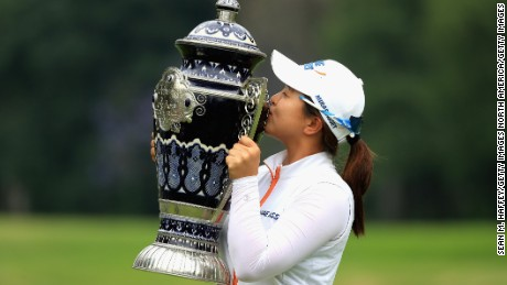 MEXICO CITY, MEXICO - MAY 07:  Sei Young Kim of Korea holds the Lorena Ochoa Match Play Trophy after defeating Ariya Jutanugarn of Thailand 1 Up during the final round of the Citibanamex Lorena Ochoa Match Play Presented by Aeromexico and Delta at Club De Golf Mexico  on May 7, 2017 in Mexico City, Mexico.  (Photo by Sean M. Haffey/Getty Images)