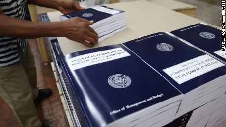 WASHINGTON, DC - MAY 19:  Copies of President Trump's FY'18 budget books are stacked, at the Government Publishing Office, on May 19, 2017 in Washington, DC.  (Photo by Mark Wilson/Getty Images)