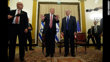 President Donald Trump talks to reporters before a meeting with Israeli Prime Minister Benjamin Netanyahu, Monday, May 22, 2017, in Jerusalem. (AP Photo/Evan Vucci)