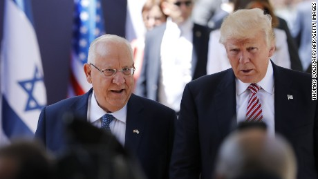 US President Donald Trump (R) and Israel's President Reuven Rivlin arrive at the President's Residence in Jerusalem on May 22, 2017.