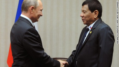 Russian President Vladimir Putin (L) meets with his Philippines' counterpart Rodrigo Duterte on the sidelines of the Asia-Pacific Economic Cooperation Summit (APEC) in Lima on November 19, 2016.  / AFP / SPUTNIK / Mikhail KLIMENTYEV        (Photo credit should read MIKHAIL KLIMENTYEV/AFP/Getty Images)