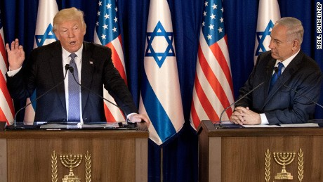 US President Donald Trump talks during a briefing after his meeting with Israeli Prime Minister Benjamin Netanyahu, right, in Jerusalem, Monday, May 22, 2017. (AP Photo/Ariel Schalit)