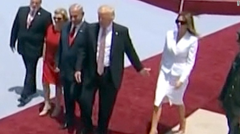 Melania slaps Trump when he tries to hold her hand