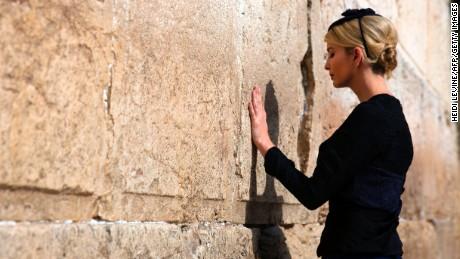 Ivanka Trump, the daughter of US President Donald Trump, prays at the Western Wall, one of the holiest sites in Judaism, in Jerusalem's Old City on May 22, 2017. (HEIDI LEVINE/AFP/Getty Images)