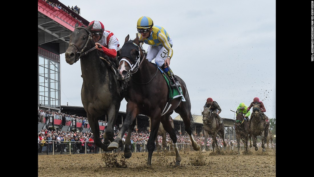 "Javier Castellano rides Cloud Computing, left, to a win at <a href=""http://www.cnn.com/2017/05/20/sport/preakness-stakes-cloud-computing/"" target=""_blank"">the Preakness Stakes</a> on Saturday, May 20. Finishing a close second was Classic Empire, ridden by Julien Leparoux."