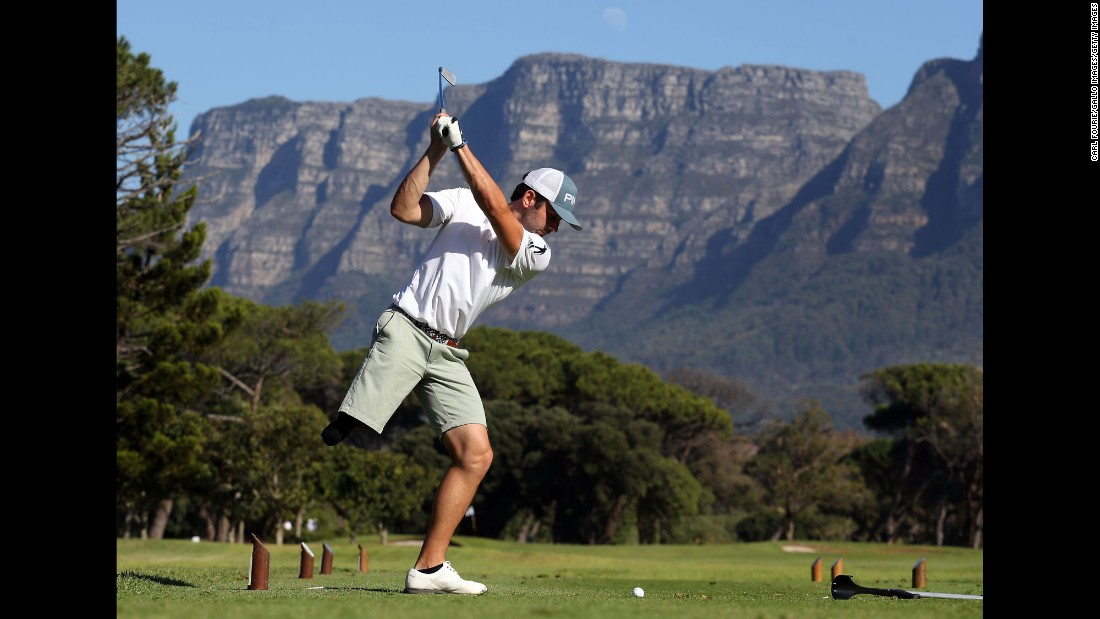 Juan Postigo hits a shot during the South African Disabled Golf Open on Tuesday, May 16.