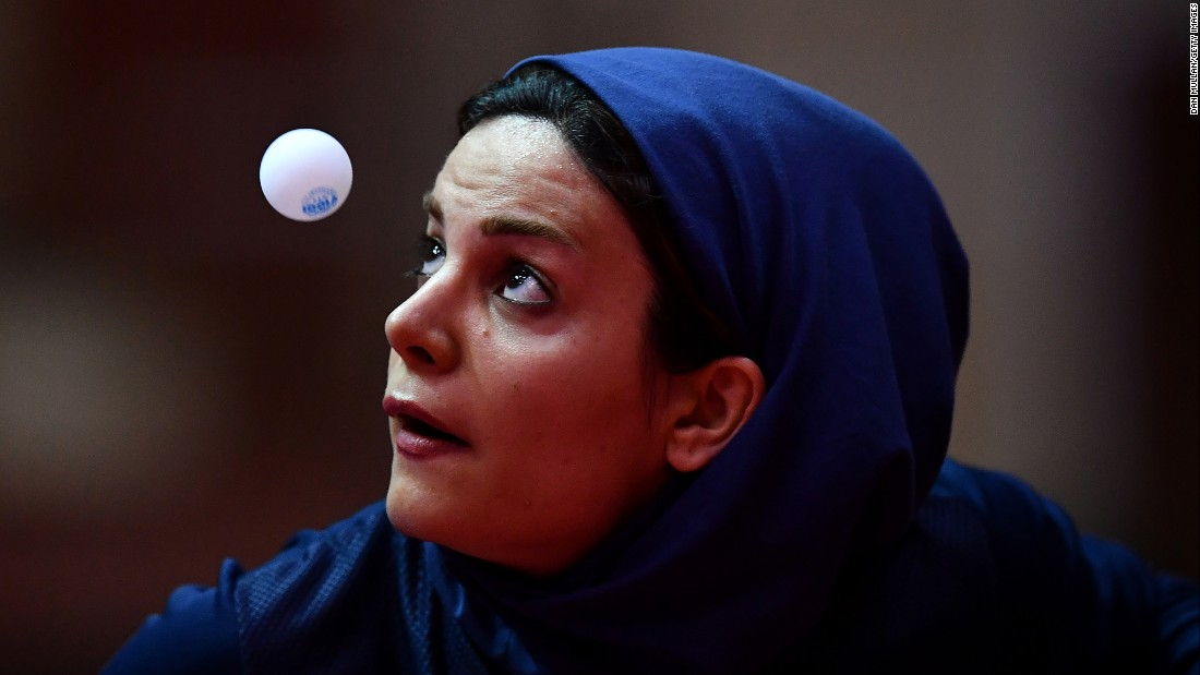 Iran's Neda Shahsavari eyes the ball during a table tennis match at the Islamic Solidarity Games on Thursday, May 18.
