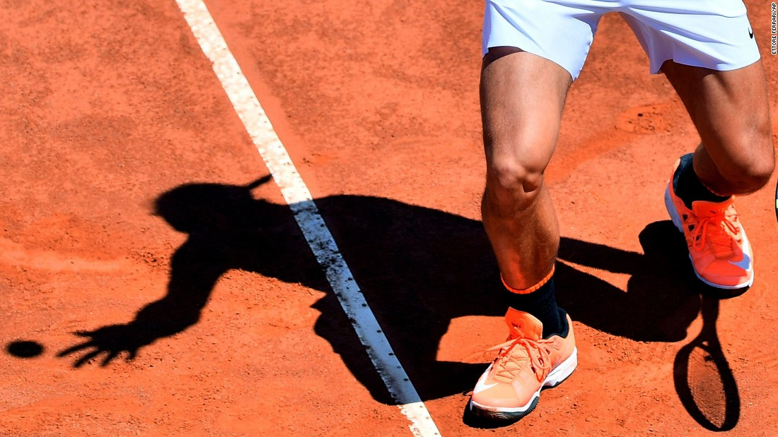 Rafael Nadal serves the ball during a match at the Italian Open on Wednesday, May 17.