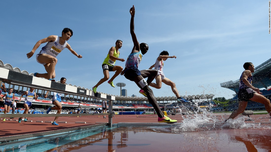 Athletes compete in the 3,000-meter steeplechase at the Golden Grand Prix, a track meet in Kawasaki, Japan, on Sunday, May 21.