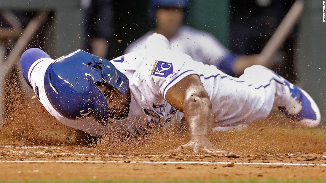 Kansas City's Jorge Soler slides safely into home during a Major League Baseball game on Thursday, May 18.