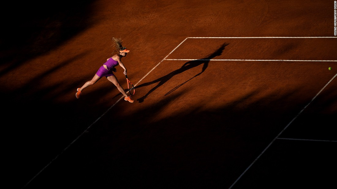 Elina Svitolina serves the ball during an Italian Open semifinal on Saturday, May 20. Svitolina would go on to win the tournament.