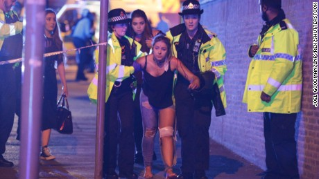 Mandatory Credit: Photo by Joel Goodman/LNP/REX/Shutterstock (8828037b) Police and other emergency services are seen near the Manchester Arena after reports of an explosion. Police have confirmed they are responding to an incident during an Ariana Grande concert at the venue. Reported Explosion at Manchester Arena, UK - 22 May 2017