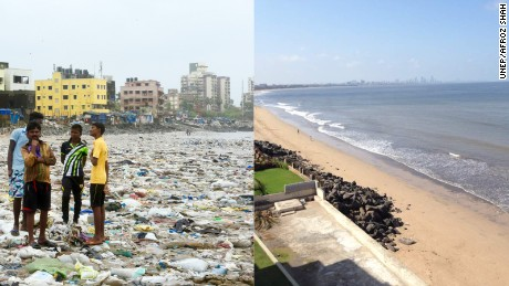 A photograph of Versova beach taken on August 6, 2016 (left), and an image of the beach tweeted on May 20, 2017.
