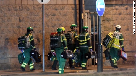 Medics deploy on May 22, 2017, at the scene of an explosion during a concert in Manchester, England.