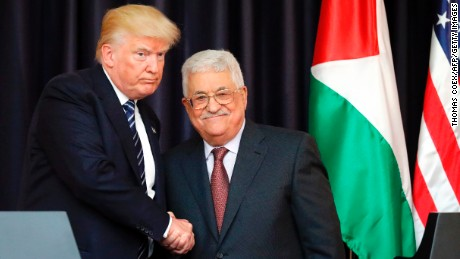US President Donald Trump (L) and Palestinian leader Mahmud Abbas shake hands during a joint press conference at the presidential palace in the West Bank city of Bethlehem on May 23, 2017. / AFP PHOTO / THOMAS COEX        (Photo credit should read THOMAS COEX/AFP/Getty Images)