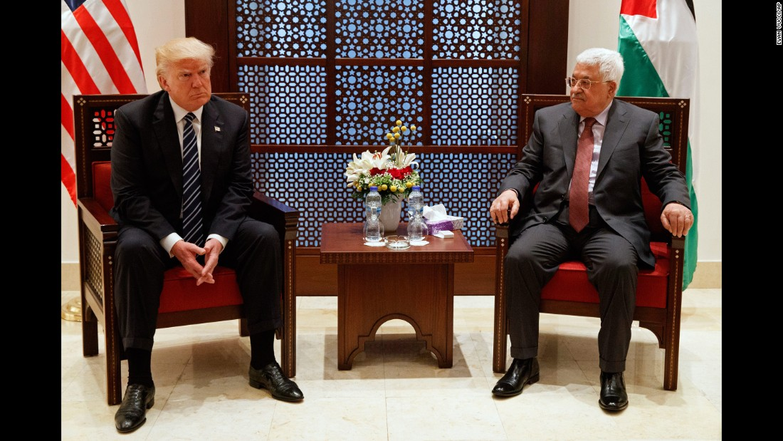 "Trump meets with Mahmoud Abbas, the President of the Palestinian Authority, on May 23. Trump met with Israeli leaders the day before and said he believes both sides <a href=""http://www.cnn.com/2017/05/23/politics/trump-israel-museum-peace/"" target=""_blank"">""are ready to reach for peace."" </a>"