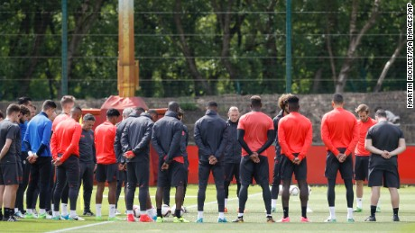 Manchester United Training Session - AON Training Complex. Manchester United's Wayne Rooney stands alongside teammates for a minutes silence in memory of the victims of the Manchester terror attack during the training session at the AON Training Complex in Carrington, ahead of the Europa League Final against Ajax tomorrow evening. Picture date: Tuesday May 23, 2017.