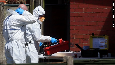 Manchester Arena incident. Police forensic investigators at an address in Elsmore Road, Greater Manchester, after a suicide bomber killed 22 people, including children, as an explosion tore through fans leaving a pop concert in Manchester. Picture date: Tuesday May 23, 2017. See PA story POLICE Explosion. Photo credit should read: Danny Lawson/PA Wire URN:31421174