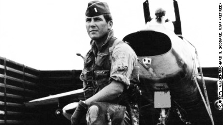 USAF pilot Richard Goddard and an F-100D Super Sabre fighter jet he piloted during the Vietnam War in 1968 and 1969.
