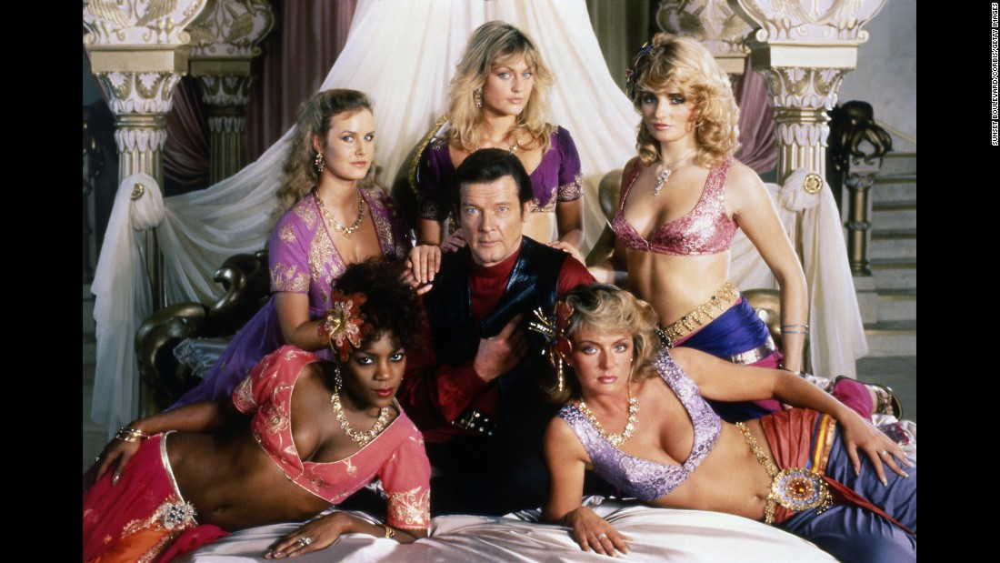 "Moore and some of his co-stars from the 1983 Bond film ""Octopussy."""