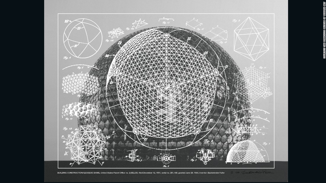 """This is an example of the pattern drawings that were submitted by Buckminster Fuller. Buckminster was the architect and visionary of the Geodesic Dome, one of the things that became very popular with the back-to-land commune movement. After the summer of love in San Francisco a lot of the hippy communities moved to the desert, to the forest and all over America. The Geodesic dome was their preferred form of architecture and home, partly because it was easy to build out of materials, but also because it represented a new society, a networked society of pieces coming together joined through these links."""