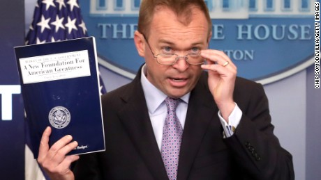 "WASHINGTON, DC - MAY 23:  Office of Management and Budget Director Mick Mulvaney holds a news conference to discuss the Trump Administration's proposed FY2017 federal budget in the Brady Press Briefing Room at the White House May 23, 2017 in Washington, DC. Calling it a ""New Foundation for American Greatness,"" the $4.1 trillion budget for would cut programs for the poor, including health care, food stamps, student loans and disability payments while offering big tax cuts for the wealthy.  (Photo by Chip Somodevilla/Getty Images)"