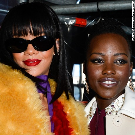 PARIS, FRANCE - MARCH 05:  Actress Lupita Nyong'o and singer Rihanna attend the Miu Miu show as part of the Paris Fashion Week Womenswear Fall/Winter 2014-2015 on March 5, 2014 in Paris, France.  (Photo by Pascal Le Segretain/Getty Images)