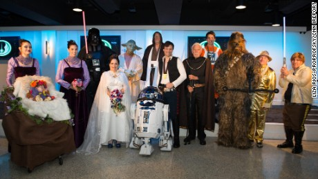 "Tom Proprofsky and Liza Rios-Proprofsky spent almost two years planning their ""Star Wars"" wedding"