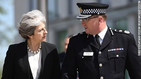 MANCHESTER, ENGLAND - MAY 23:  (EDITOR'S NOTE: Alternative crop of image #687192080)   Britain's Prime Minister Theresa May meets Chief Constable of Greater Manchester Police Ian Hopkins on May 23, 2017 in Manchester, England. Prime Minister Theresa May held a COBRA meeting this morning following a suicide attack at Manchester Arena as concert goers were leaving the venue after Ariana Grande had performed. Greater Manchester Police have confirmed the explosion as a terrorist attack with 22 fatalities and 59 injured.  (Photo by Leon Neal/Getty Images)