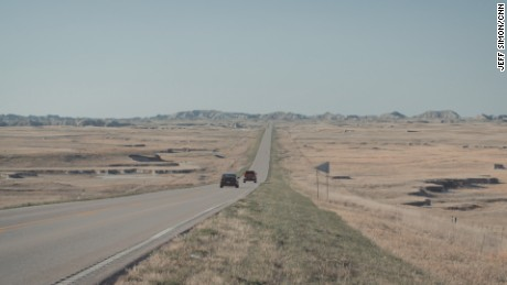 A road leading out of the Pine Ridge Indian Reservation in South Dakota.