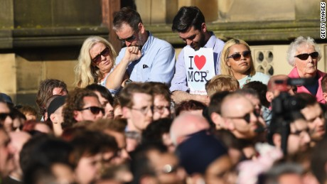 MANCHESTER, ENGLAND - MAY 23:  Members of the public gather at a candlelit vigil, to honour the victims of Monday evening's terror attack, at Albert Square on May 23, 2017 in Manchester, England. Monday's explosion occurred at Manchester Arena as concert goers were leaving the venue after Ariana Grande had just finished performing. Greater Manchester Police are treating the explosion as a terrorist attack and have confirmed 22 fatalities and 59 injured.  (Photo by Leon Neal/Getty Images)