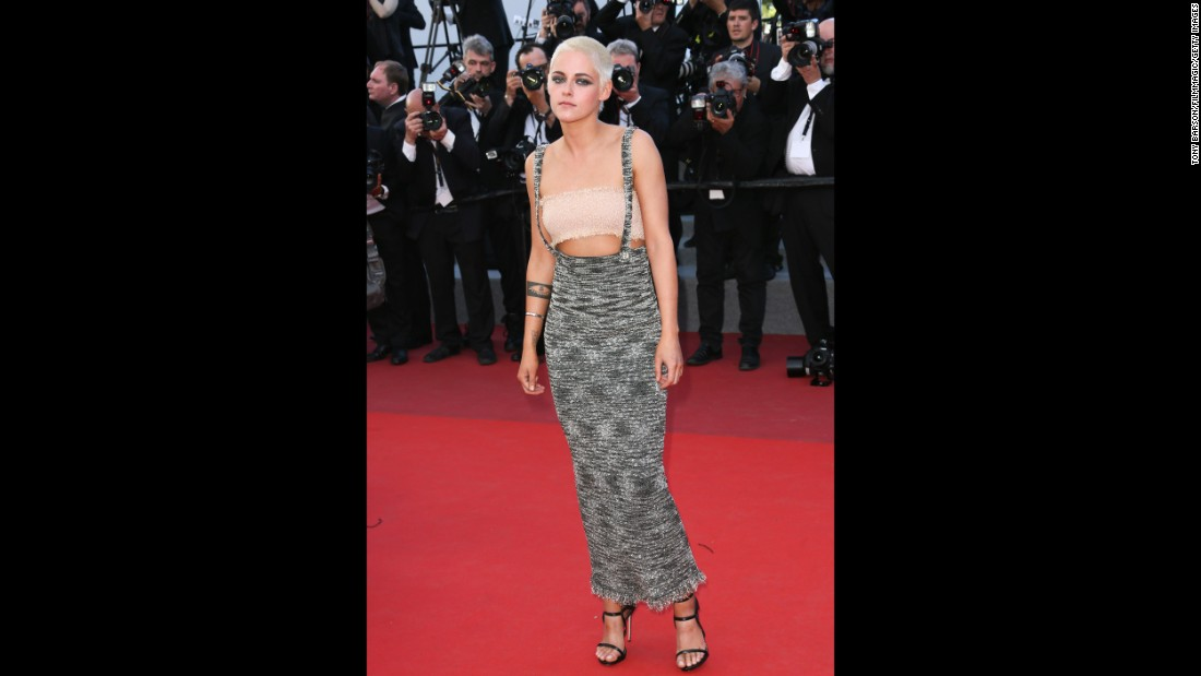 Cannes loves Kristen Stewart, and this year she brought her ever-evolving style to the festival once more. She conducted interviews in leather gloves and braces, and took to the red carpet in this unusual piece by Chanel.
