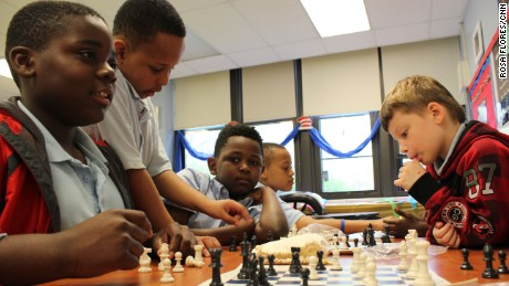 Students learn chess and boxing in the after-school program at Deneen School of Excellence.