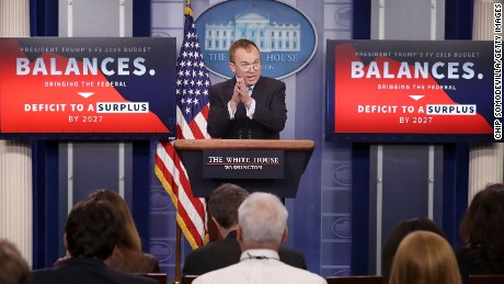 Office of Management and Budget Director Mick Mulvaney holds a news conference to discuss the Trump Administration's proposed FY2017 federal budget in the Brady Press Briefing Room at the White House May 23, 2017 in Washington, DC.