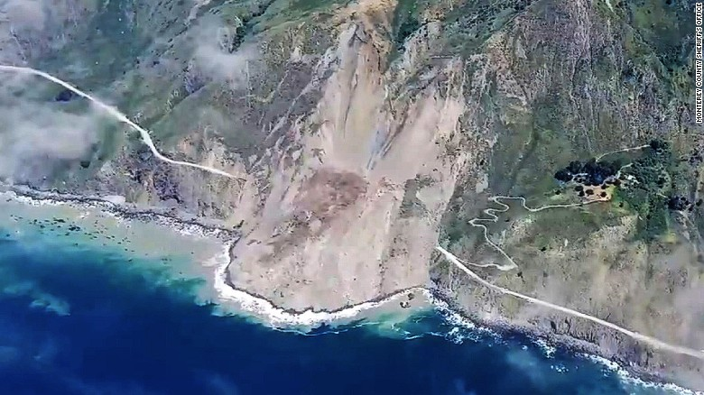 'One of a kind' landslide buries part of California's iconic coastal highway