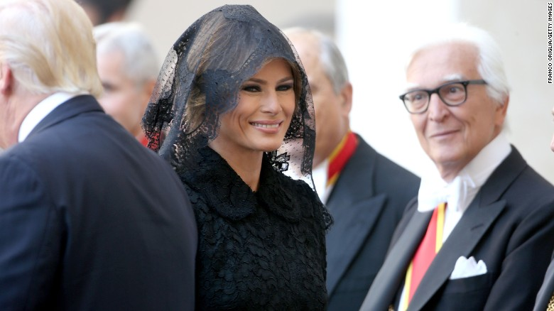 "Melania Trump, the first lady of the United States, arrives at the Vatican for a meeting with Pope Francis on Wednesday, May 24. <a href=""http://www.cnn.com/2017/05/24/politics/melania-trump-pope-francis-headscarf-fashion/index.html"" target=""_blank"">With Vatican protocol in mind,</a> she wore a black veil and long-sleeved black dress draped down to her calf."