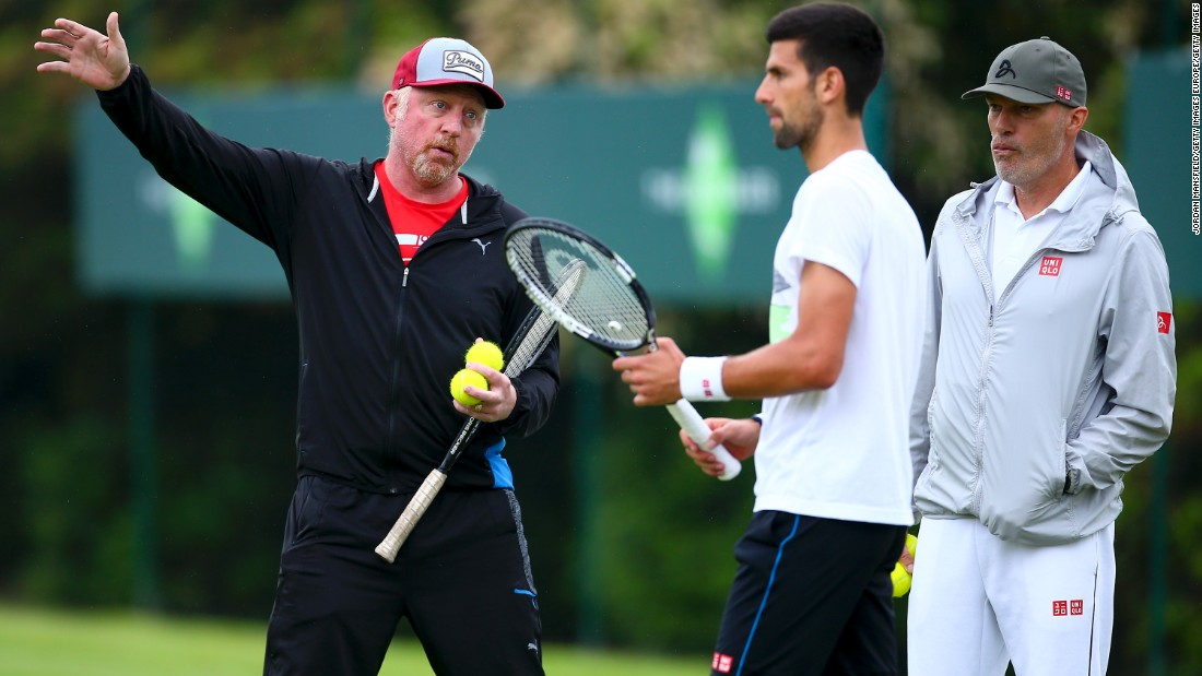 Djokovic hired German fitness coach Gebhard Phil-Gritsch (R) in the spring of 2009 having identified conditioning as a weakness in his game. The two worked together until May 2017.