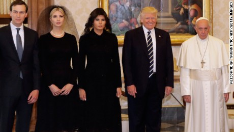 Pope Francis stands with President Donald Trump, First Lady Melania Trump, Ivanka Trump and White House senior advisor Jared Kushner during a private audience at the Vatican in Rome on Wednesday, May 24.