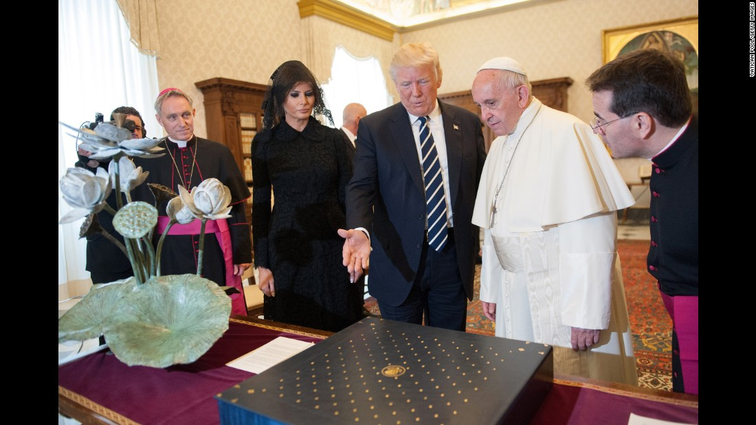 Trump and the Pope exchange gifts. Trump presented the Pope with a first-edition set of Martin Luther King's writings. The Pope gave Trump an olive-tree medal that the Pope said symbolizes peace.