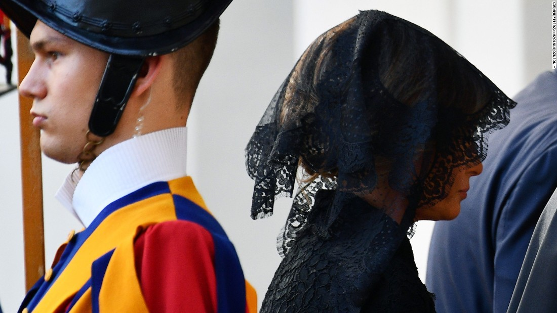 "Melania Trump arrives at the Vatican on May 24. <a href=""http://www.cnn.com/2017/05/24/politics/melania-trump-pope-francis-headscarf-fashion/index.html"" target=""_blank"">With Vatican protocol in mind,</a> she wore a black veil and long-sleeved black dress draped down to her calf. Ivanka Trump wore a similar outfit with a larger veil."