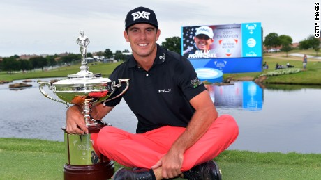 IRVING, TX - MAY 21:  Billy Horschel poses with the trophy after winning the AT&T Byron Nelson at the TPC Four Seasons Resort Las Colinas on May 21, 2017 in Irving, Texas.  (Photo by Drew Hallowell/Getty Images)