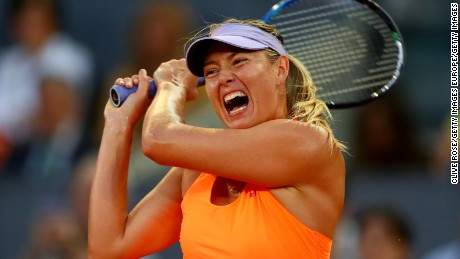 MADRID, SPAIN - MAY 08:  Maria Sharapova of Russia in action during her match against Eugenie Bouchard of Canada on day three of the Mutua Madrid Open tennis at La Caja Magica on May 8, 2017 in Madrid, Spain.  (Photo by Clive Rose/Getty Images)