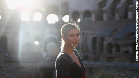 Sharapova poses for a portrait inside the Rome Colosseum.