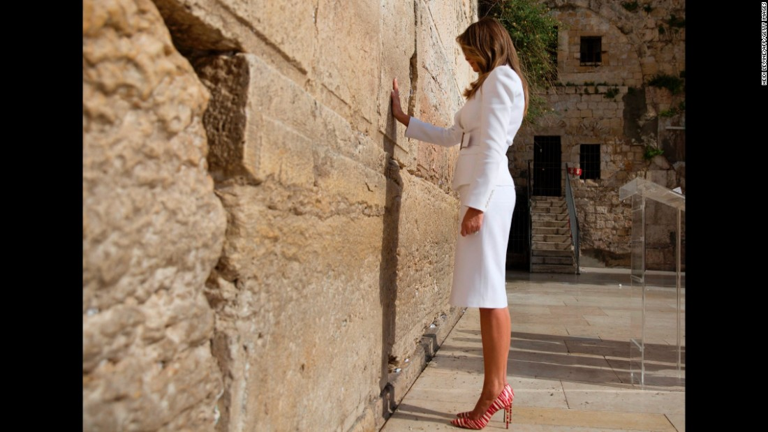 The first lady visits the Western Wall, Judaism's holiest prayer site, while in Jerusalem on Monday, May 22.