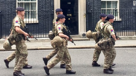 Soldiers on patrol at the Prime Minister's office in London on Wednesday.