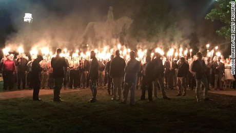 A group of torch-wielding protesters gathered in a Charlottesville, Virginia park recently to protest the planned removal of a statue Gen. Robert E. Lee, a Confederate Civil War hero.